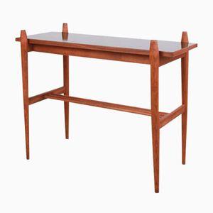 Table d'Appoint Vintage en Noyer avec Plateau Noir