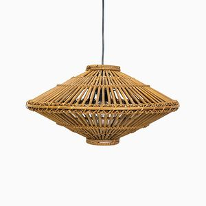 Vintage Bamboo and Rattan Pendant Lamp