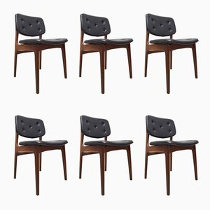 Teak & Black Leatherette Dining Chairs, 1960s, Set of 6
