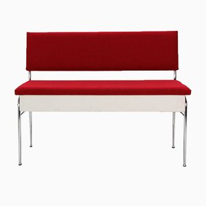 Bench with Storage Upholstered in Red, 1950s