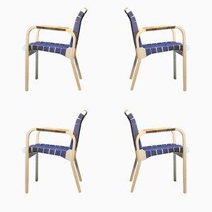 Vintage Modell 45 Armlehnstühle von Alvar Aalto für Artek, 4er Set