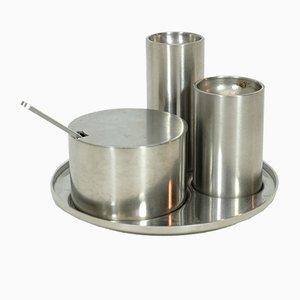 Juego de salero, pimentero y recipiente para mostaza Cylinda Line de Arne Jacobsen para Stelton