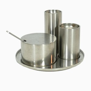 Saliera, pepiera e salsiera Cylinda Line di Arne Jacobsen per Stelton