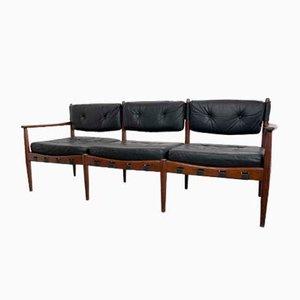Sofá de tres plazas de cuero de Eric Merthen para IRE Möbler, años 60