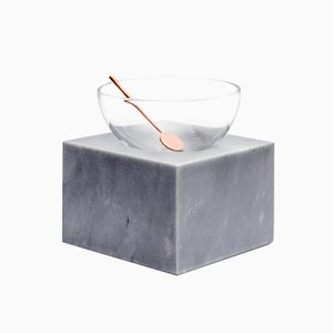 Coppa Half Moon Bowl in Blown Glass and Versilia Marble by Elisa Ossino for Paola C.