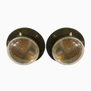 Vintage Bronze & Murano Glass Nautical Sconces, Set of 2