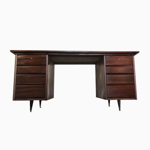 Mid-Century Industrial Mahogany Desk