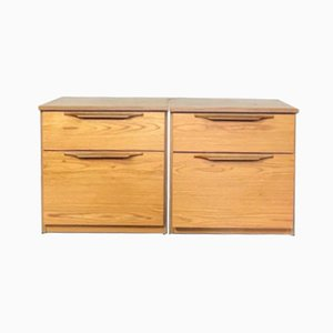 Mid-Century Slant Fronted Bedside Tables, Set of 2