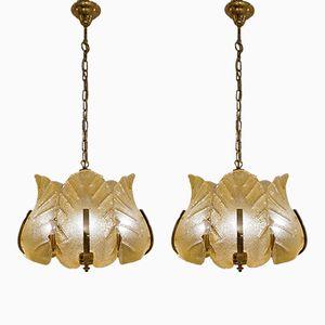 Lámparas de techo suecas de Carl Fagerlund para Orrefors, años 60. Juego de 2