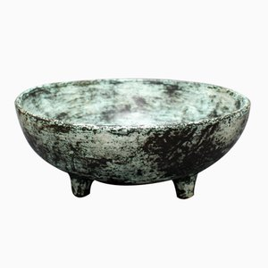 Vintage Ceramic Bowl with Stylized Decor on Four Feet by Jacques Blin
