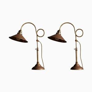 Schwedische Messing Tischlampen von Gamla Stans Lampverkstad, 1960er, 2er Set