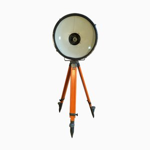 Vintage Grey Factory Spotlight with Wooden Tripod Base