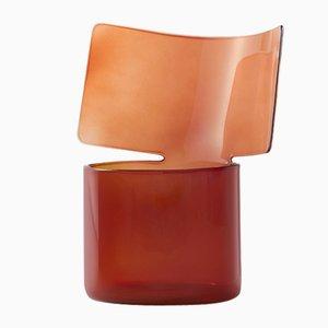 Vaso basso in vetro soffiato color ambra di Böjte-Bottari per Paola C.