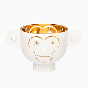 Brass Monkos Candleholder with White Exterior by Jaime Hayon for Paola C.