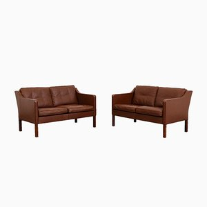 Model 2422 Brown Leather 2-Seater Sofas by Børge Mogensen for Fredericia, Set of 2
