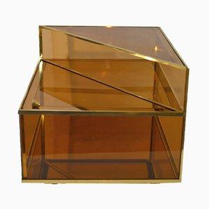 Mesa de cóctel italiana de latón y vidrio, años 70