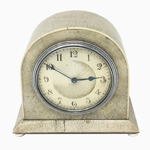 French Art Deco Table Clock in Shagreen, 1930s