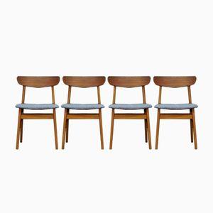 Mid-Century Teak Veneered Chairs, Set of 4