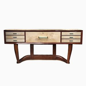 Italian Art Deco Console in Parchment and Rosewood by Osvaldo Borsani for Fontana Arte, 1930s