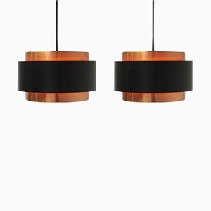 Lámparas colgantes Saturn Mid-Century de Johannes Hammerborg para Fog & Morup. Juego de 2