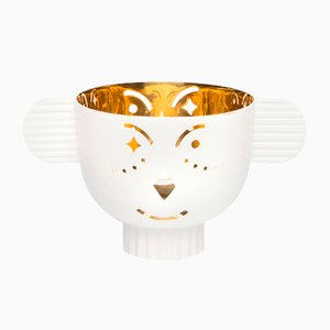 Pipoz Brass Candleholder with White Exterior by Jaime Hayon for Paola C.