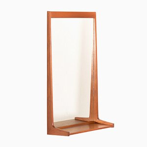Mid-Century Danish Teak Mirror with Shelf by Kai Kristiansen for Aksel Kjersgaard, 1960s