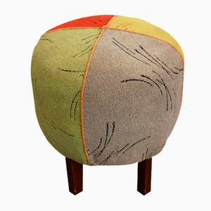 Vintage Wood & Multicolored Fabric Stool