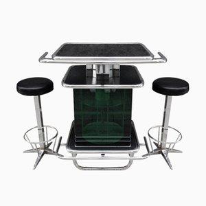 Mueble bar vintage de cromado y plástico verde con 2 taburetes