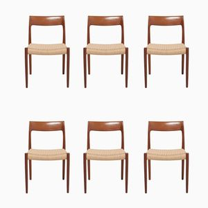 Mid-Century Model 77 Dining Chairs by Niels Otto (N. O.) Møller for J.L. Møllers, Set of 6