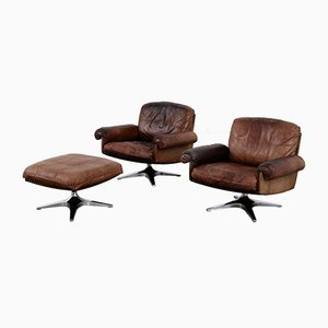 DS31 Swivel Lounge Chairs with Ottoman from de Sede
