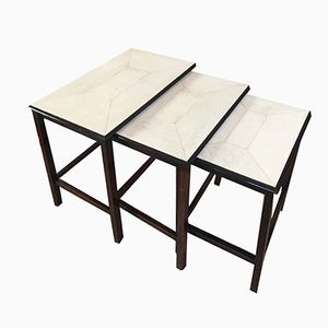 French Art Deco Parchment and Ebonized Wood Nesting Tables, 1930s