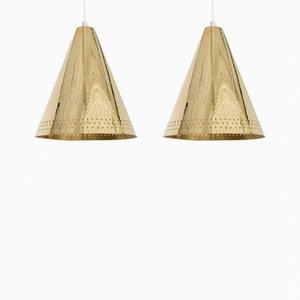 Lámparas colgantes de latón de Lars Holmström. Juego de 2