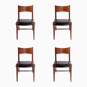 Dänische Teak und Moleskin Esszimmerstühle, 4er Set