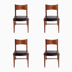 Danish Teak and Moleskin Dining Chairs, Set of 4