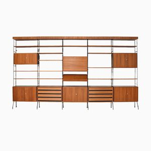 Free-Standing Teak and Birch Veneer Modular Wall Unit, 1960s