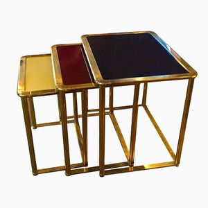 Italian Brass and Tricolor Lacquered Wood Nesting Tables, 1940s