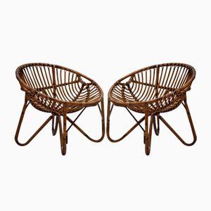 Mid-Century Modern Wicker Chairs, Set of 2, 1950s