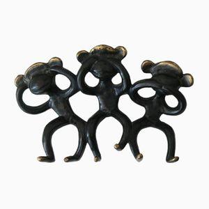 Wall Hook by Walter Bosse with 3 Monkeys, 1950s