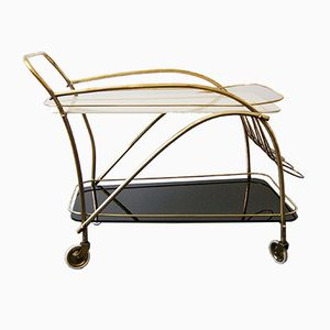 Mid-Century Bar Cart in Glass & Brass