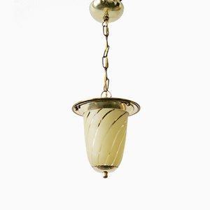 Lámpara colgante de vidrio y latón, años 50