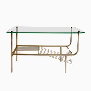 French Glass Side Table with Magazine Rack
