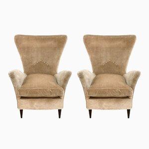 Beige Velvet Armchairs, 1950s, Set of 2