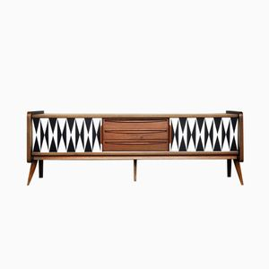 Mid-Century Norwegian Teak Veneer Sideboard with Pattern, 1960s