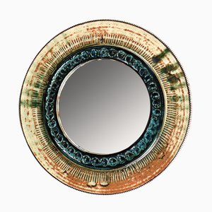 Espejo de pared danés de cerámica, años 70