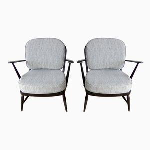 Schwarze Vintage Armlehnstühle von Lucian Ercolani für Ercol, 1960er, 2er Set