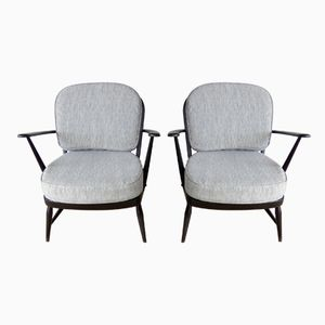 Vintage Black Armchairs by Lucian Ercolani for Ercol, 1960s, Set of 2