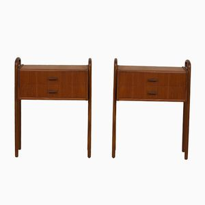 Mid-Century Teak Nightstands, Set of 2