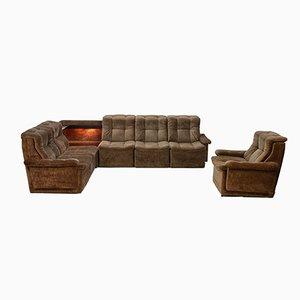 Unterteiltes Sofa mit passendem Sessel aus grünem Samt, 1960er