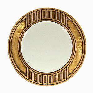 Specchio da parete Mid-Centuty in stile brutalista in bronzo