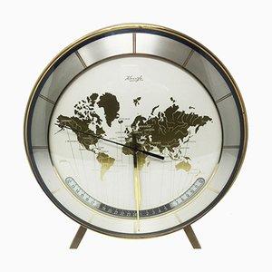 Reloj de mesa italiano de metal y latón, años 50